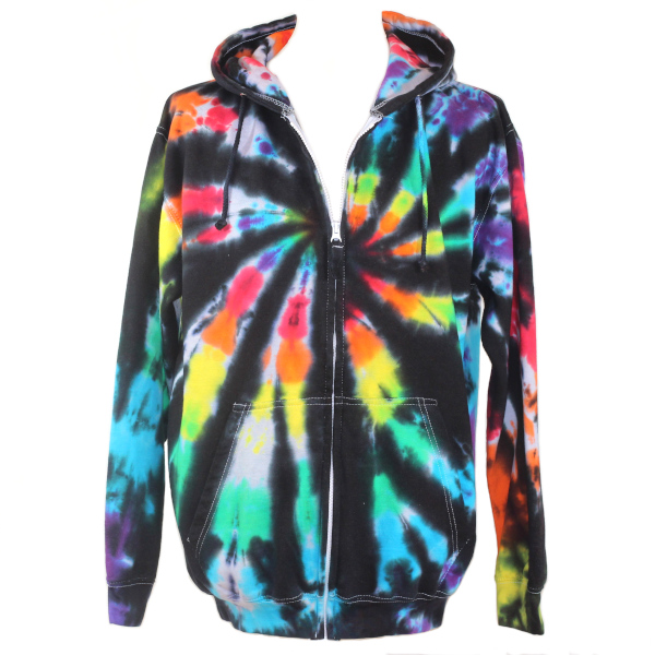 black rainbow custom dyed adults full zip hoody