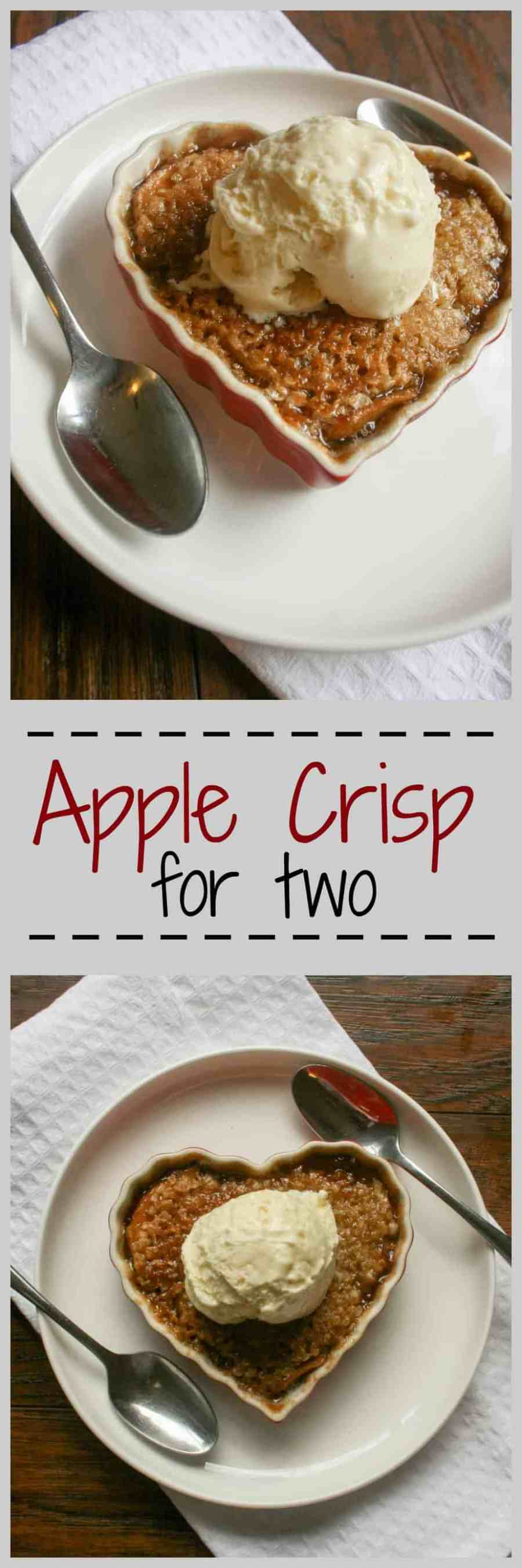 Apple Crisp for 2 is the perfect fall comfort food that you can eat all in one sitting. Easily make this for a crowd or just you and your loved one!