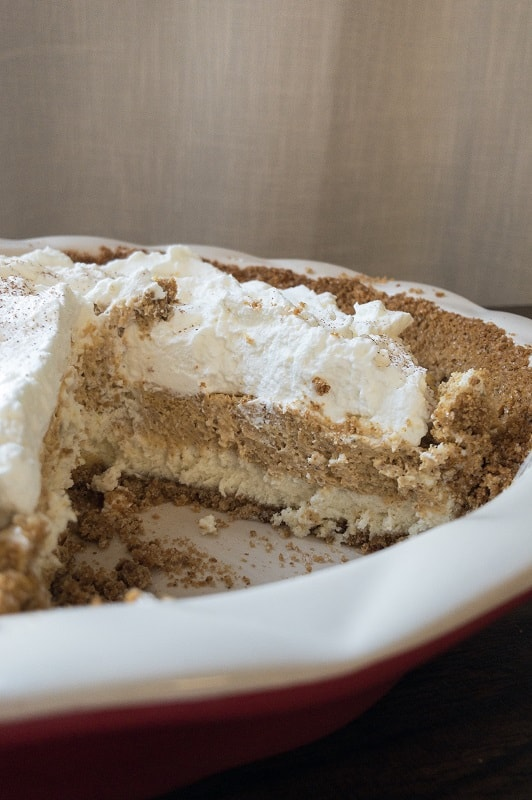 Three delicious layers in this pie: graham cracker crust, cheesecake and pumpkin pie. The perfect Thanksgiving Pumpkin Cheesecake Pie and holiday themed dessert!