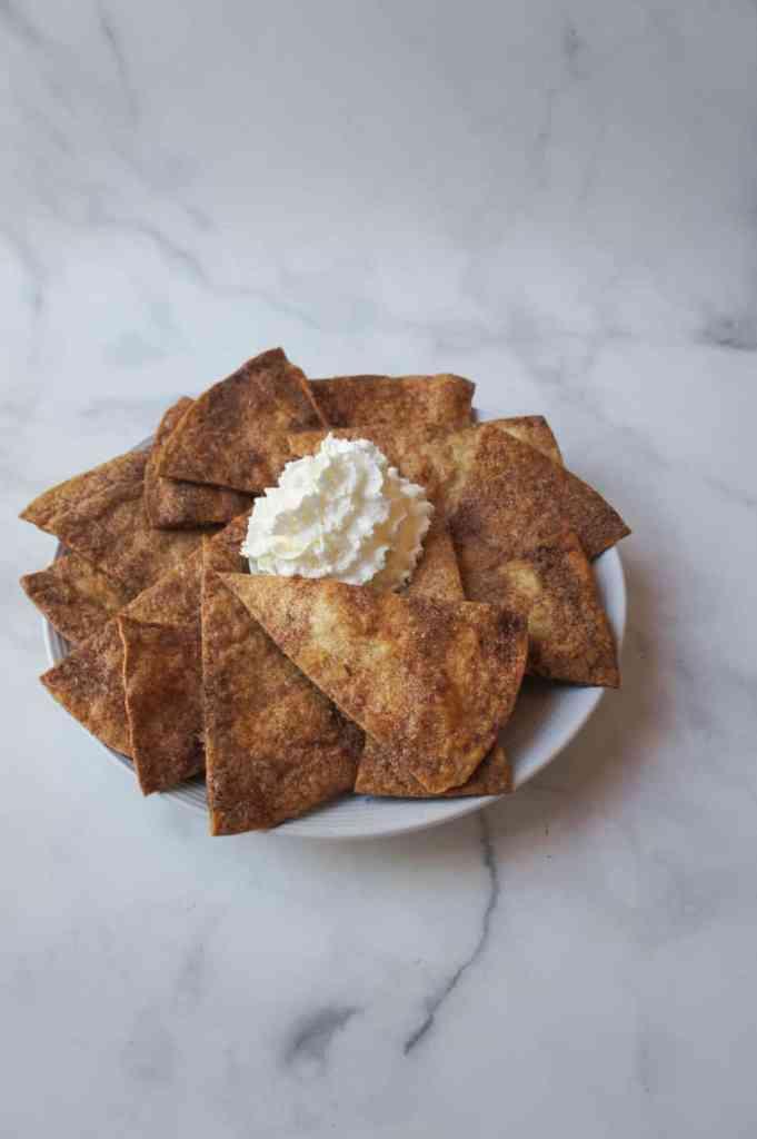 Baked cinnamon sugar Mexican dessert chips