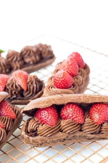Rezept Schoko Eclairs Schokocreme Erdbeeren
