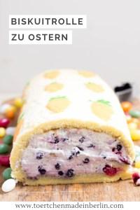 Rezept Biskuitrolle mit Mohrrüben Deko und Heidelbeersahne