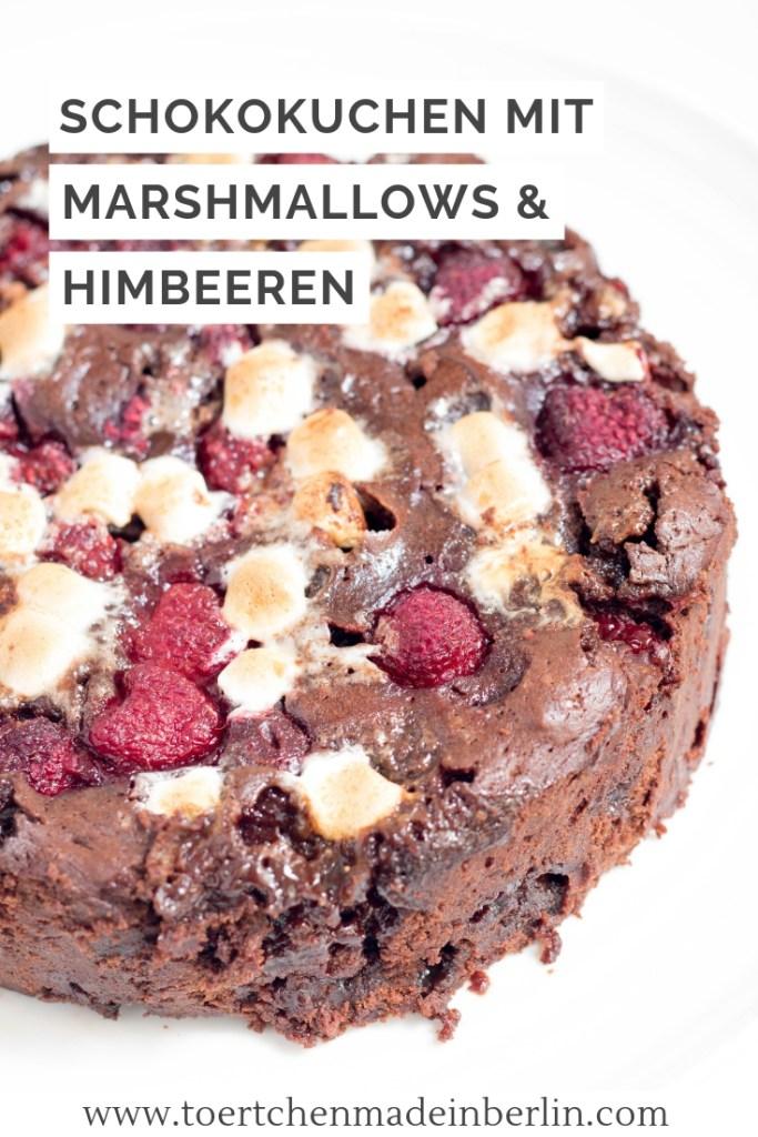Rezept Schokokuchen mit Marshmallows und Himbeeren