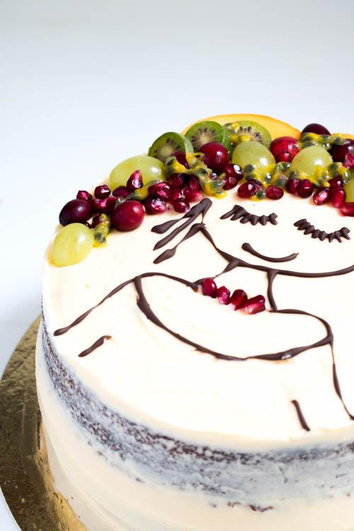 Trendtorte Face Cake mit Früchten