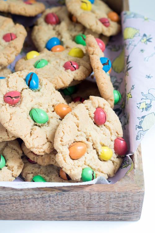 Rezept Erdnuss Cookies mit Schokolinsen Kekse