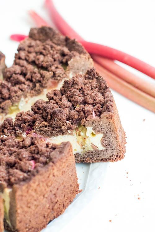 Rezept Schoko Streusel Rhabarber Kuchen