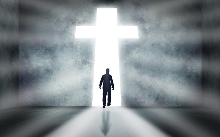 Walk towards a cross - follow the leader Jesus
