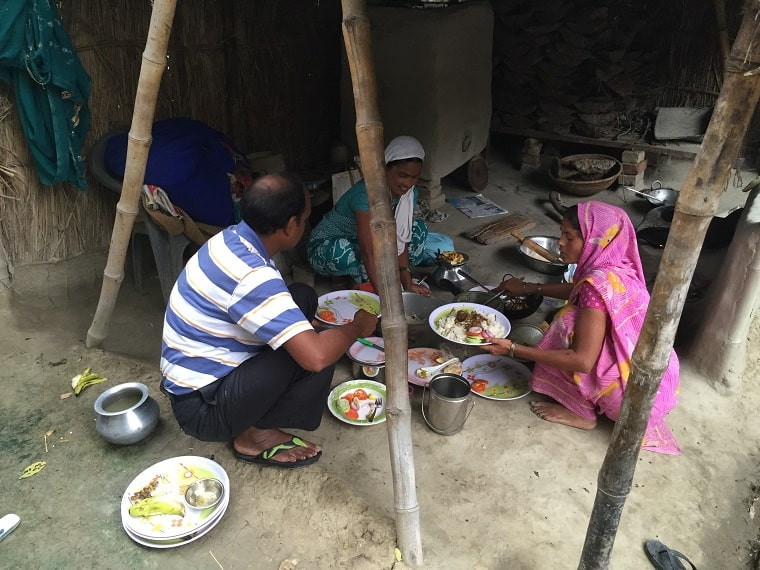 Indian Christians eating lunch