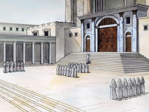 Zechariah prepares to offer incense at the temple.
