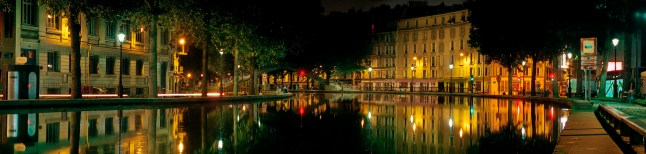 A nighttime panorama of Canal Saint-Martin