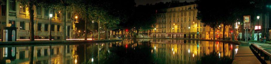 A nighttime panorama of Canal Saint-Martin