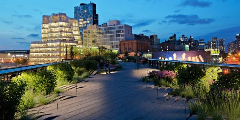 architecture photography: Highline elevated park at the blue hour, chelsea neighborhood, manhattan, New York City, NYC