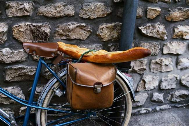 French Bread Strapped to a Bicycle