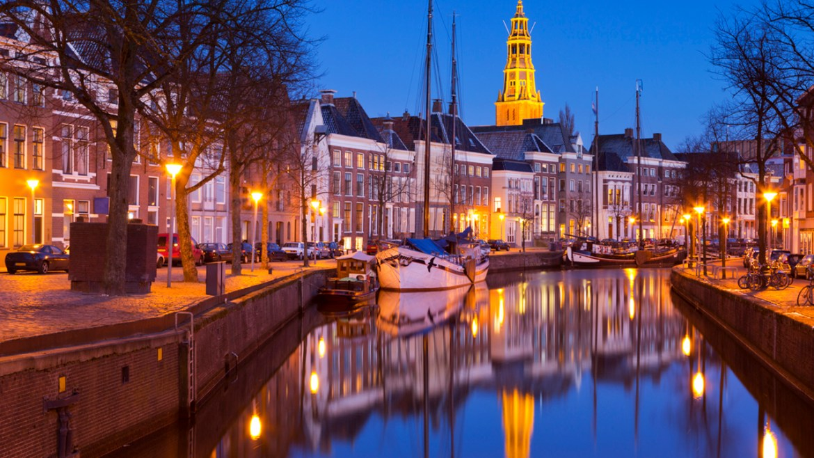 The city of Groningen, The Netherlands with A-kerk at night
