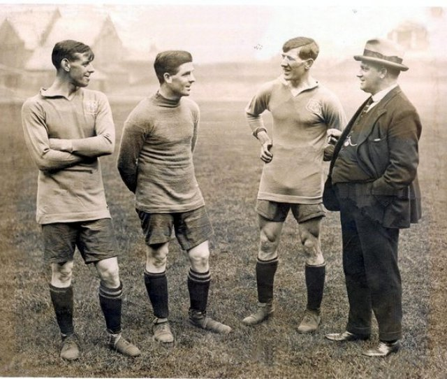 Tom With Players On The Goodison Park Pitch Circa 1923