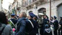 Every good procession in Italy must have a marching band.