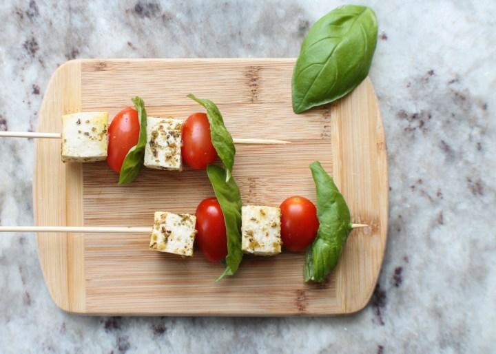 vegan feta, tomato, basil skewers
