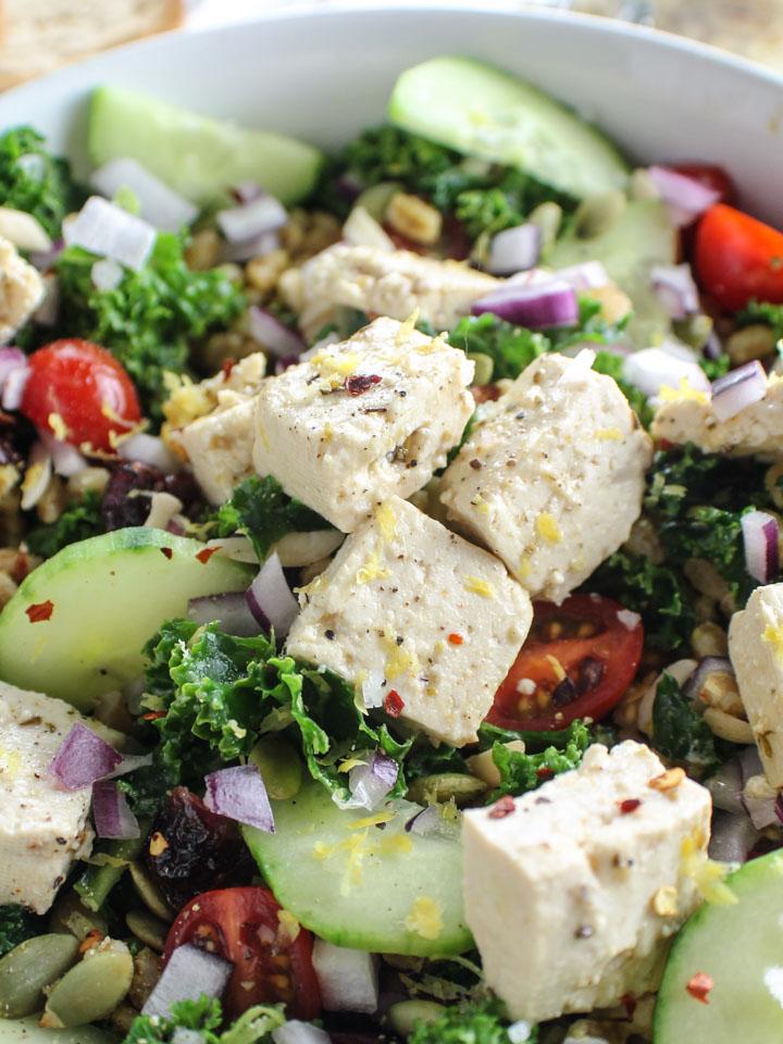 Italian vegan feta on kale faro salad