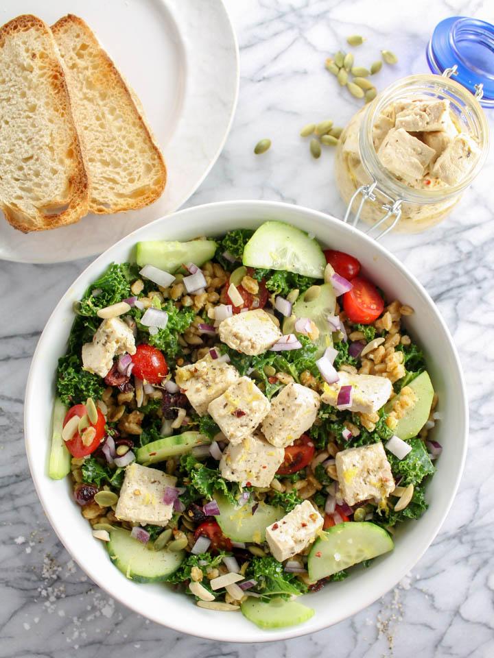 kale farro abundance salad