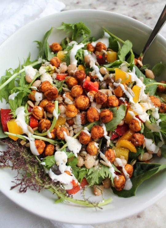 crispy chickpeas on a salad bed