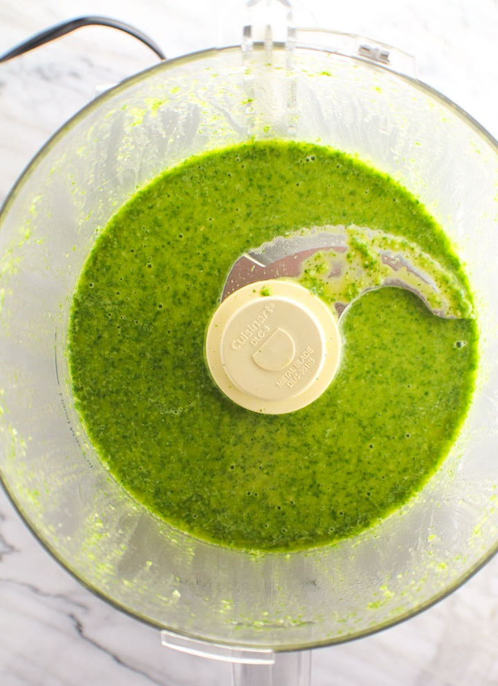 cilantro sauce combined in a blender
