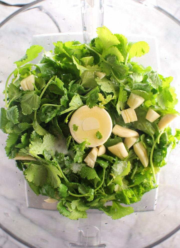 cilantro sauce ingredients in blender