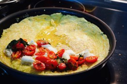 open omelette with mascarpone and roasted grape tomatoes