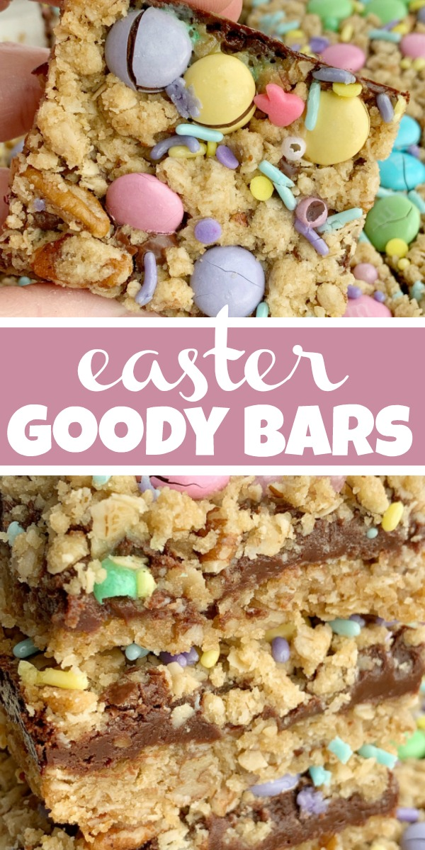 Easter Goody Bars | Goody Bars | Easter Recipe | Easter Goody Bars are the perfect springtime treat! A pecan and oat crumble mixture for the crust, filled with a creamy fudge filling, topped with more crumble and Easter m&m candy and sprinkles. #easter #easterrecipes #dessert #dessertrecipes #recipeoftheday #holidayrecipes
