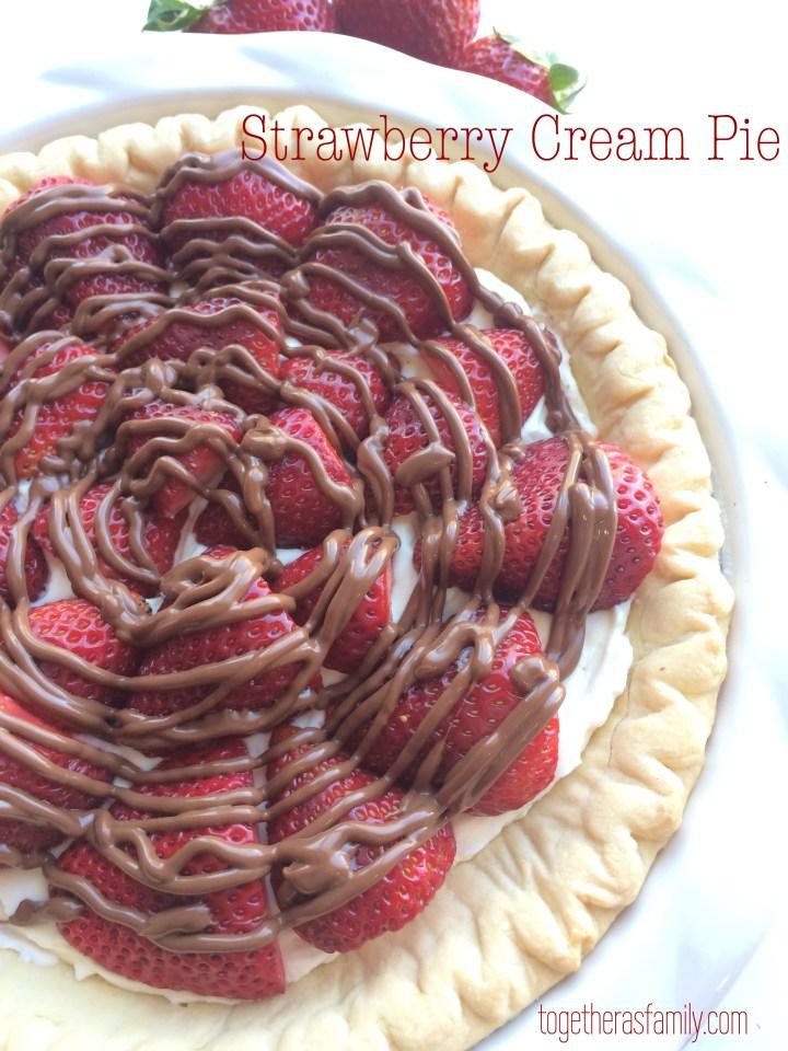 Strawberry Cream Pie- www.togetherasfamily.com