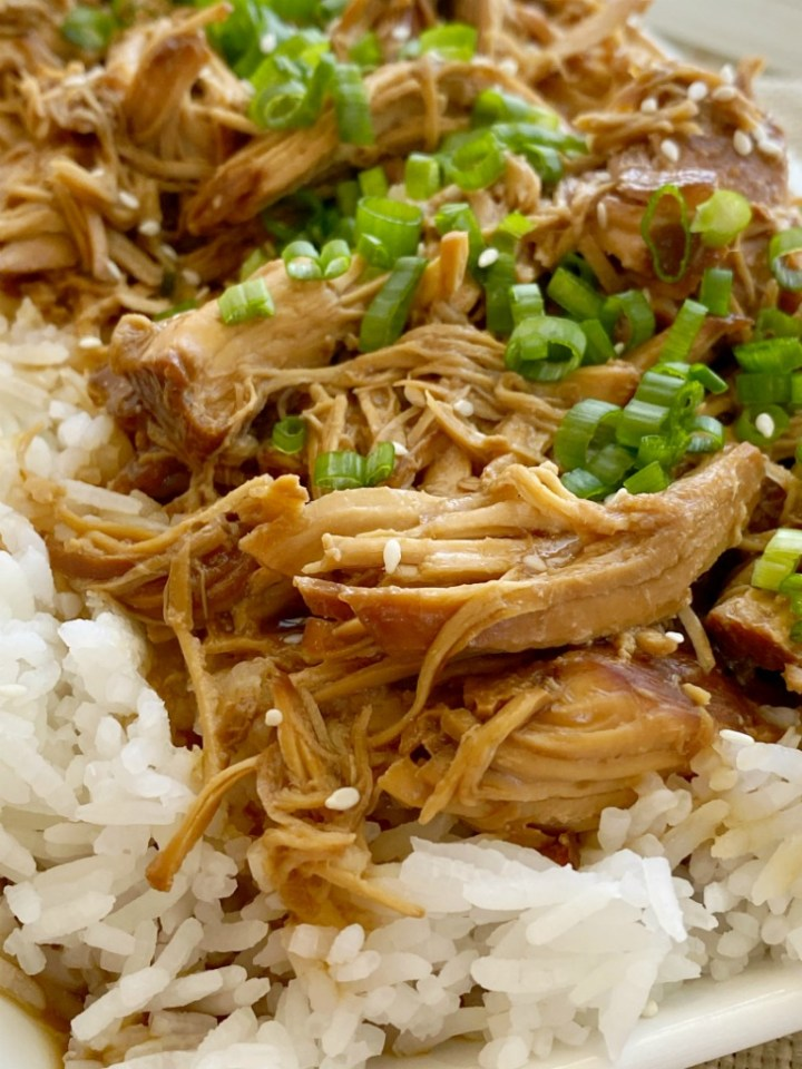 Crockpot Teriyaki Chicken is an easy slow cooker chicken recipe that only needs a few ingredients. Chicken cooks in the crockpot in a sweet & delicious homemade teriyaki sauce. Serve over rice and garnish with green onions.