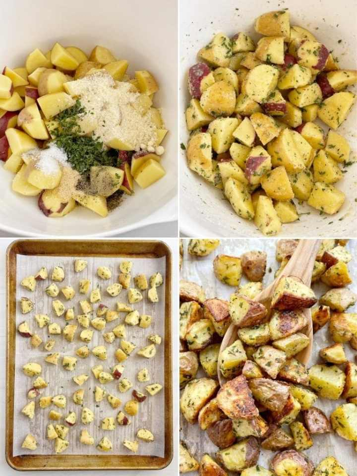 How to make oven roasted parmesan potatoes with step-by-step photo instructions.