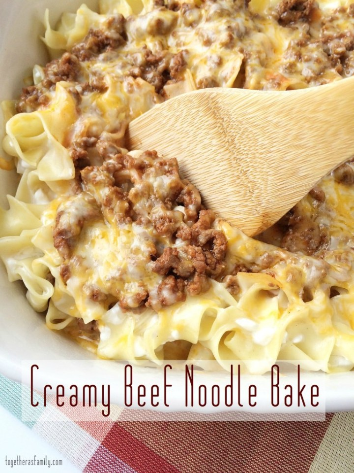 Creamy Beef Noodle Bake is a family favorite dinner! www.togetherasfamily.com