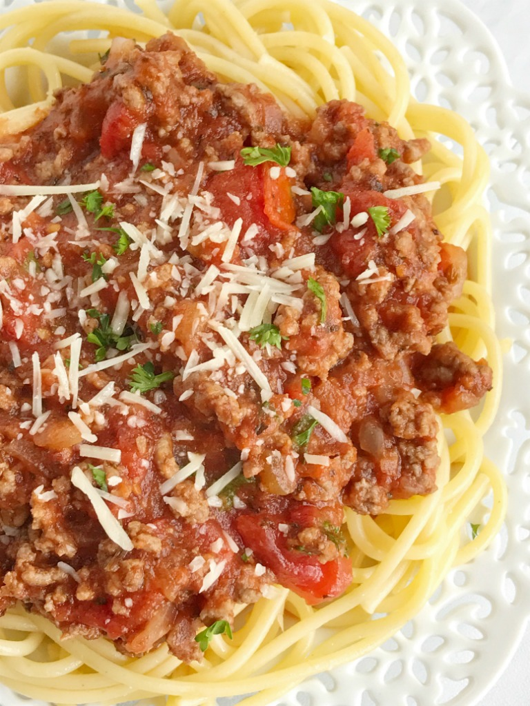 Homemade Spaghetti Meat Sauce Together As Family