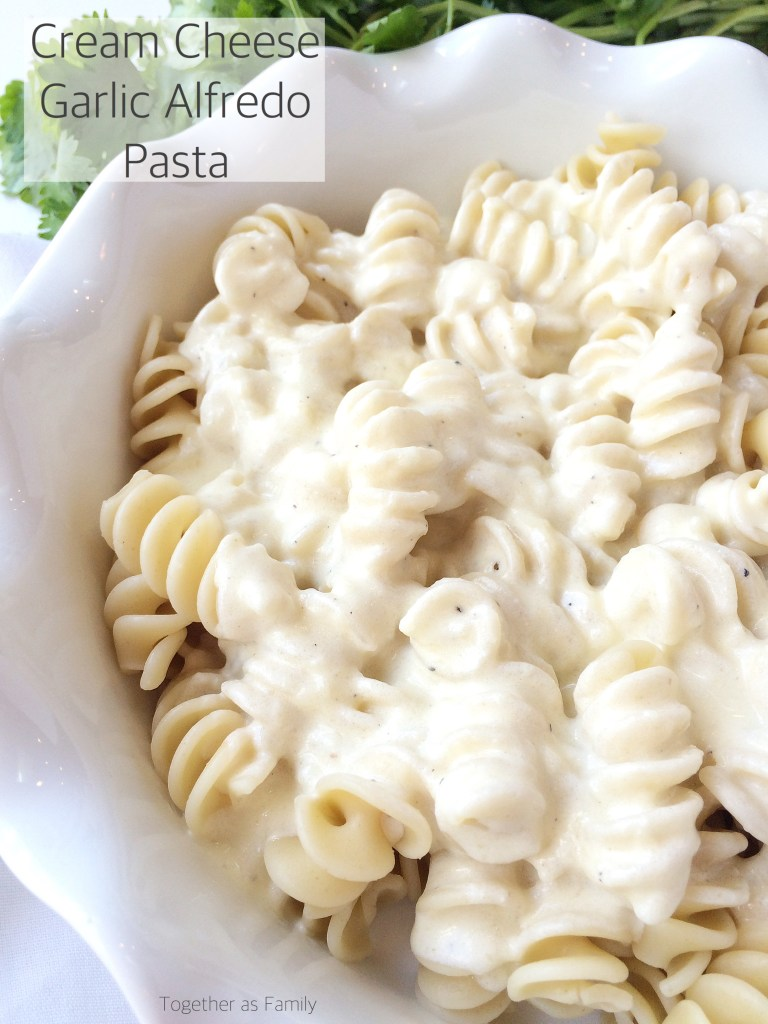 CREAM CHEESE GARLIC ALFREDO SAUCE | serve over some hot pasta and you have an easy, delicious, 30 minute meal! www.togetherasfamily.com