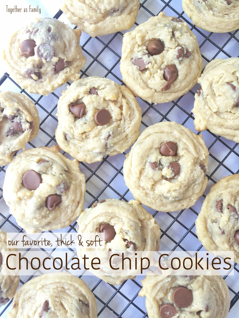 The best THICK, & SOFT CHOCOLATE CHIP COOKIES | www.togetherasfamily.com