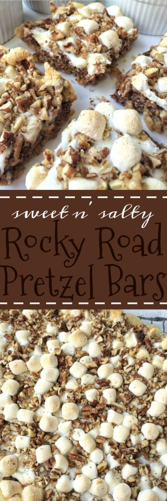 These sweet n' salty rocky road barshave acrumbly pretzel crust, topped with condensed milk, and then layered with mini marshmallows, pecans and chocolate! They are the best sweet and salty dessert.