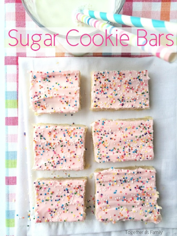 These sugar cookie bars are thick, sweet and toppedwith a creamy frosting! They are so yummy and completely addictive. Fun to change up the frosting color and sprinkles for different occasions!