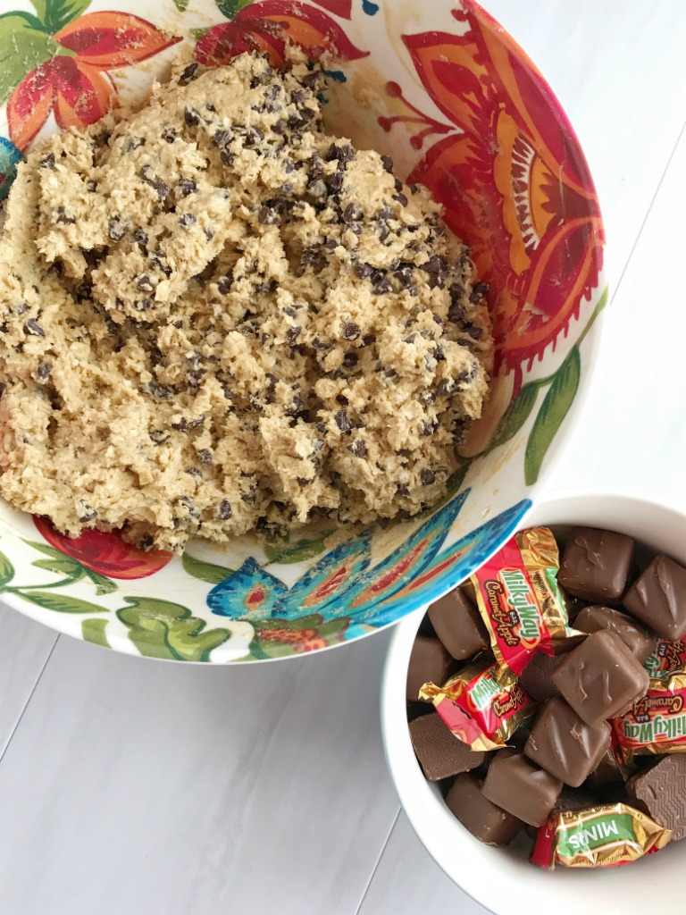 Caramel apple milky way oatmeal peanut butter chocolate chip cookies are three cookies in one! Oatmeal & peanut butter cookies loaded with chocolate chips and stuffed with a caramel apple milky way. These are the yummiest cookies I've ever had. You can't go wrong!