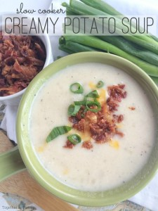 This will be the easiest potato soup you'll ever make because there is no peeling and chopping potatoes! Let the slow cooker do all the work for a delicious, ultra creamy potato soup. This slow cooker creamy potato soup is made easy because it uses a bag of frozen cubed hash brown potatoes!
