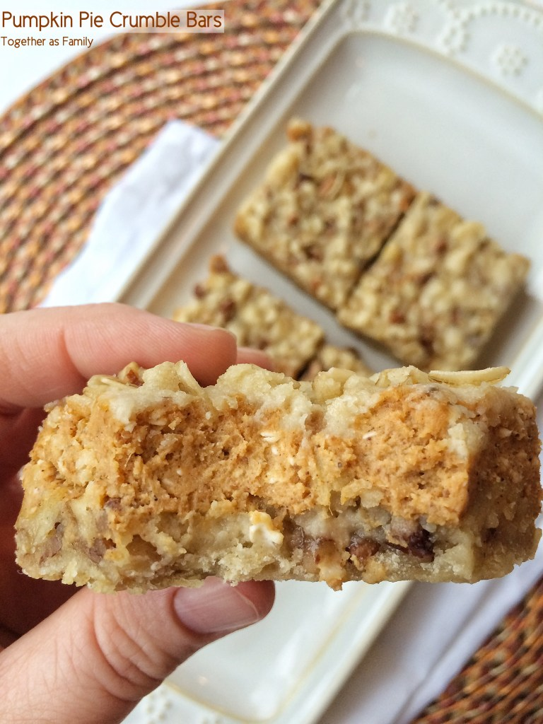 PUMPKIN PIE CRUMBLE BARS | www.togetherasfamily.com