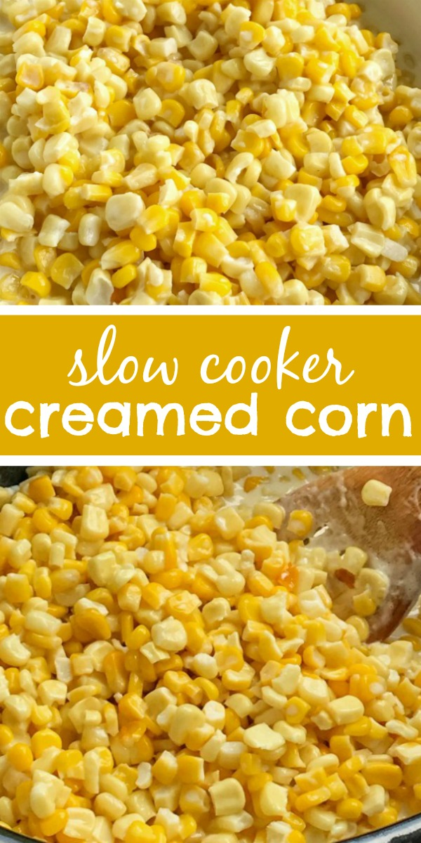 Slow Cooker Creamed Corn | Side Dish Recipe | Crock Pot Recipe | Slow Cooker Recipe | Slow cooker creamed corn is only 5 simple ingredients. So creamy, easy to make, and way better than the canned stuff. Creamed corn is the perfect side dish for any meal. #sidedish #creamedcorn #slowcooker #crockpot #dinnerrecipe