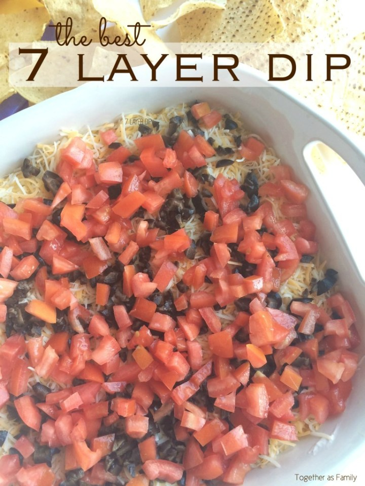 Layers of beans, sour cream, fresh guacamole, shredded cheese, and loaded with fresh veggies! This 7 layer dip will be one that no one can refuse. Serve with some crisp corn tortilla chips.