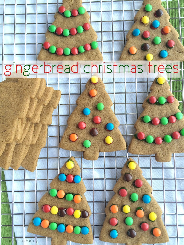 GINGERBREAD CHRISTMAS TREES | soft & thick gingerbread cookies decorated with m&m's! www.togetherasfamily.com