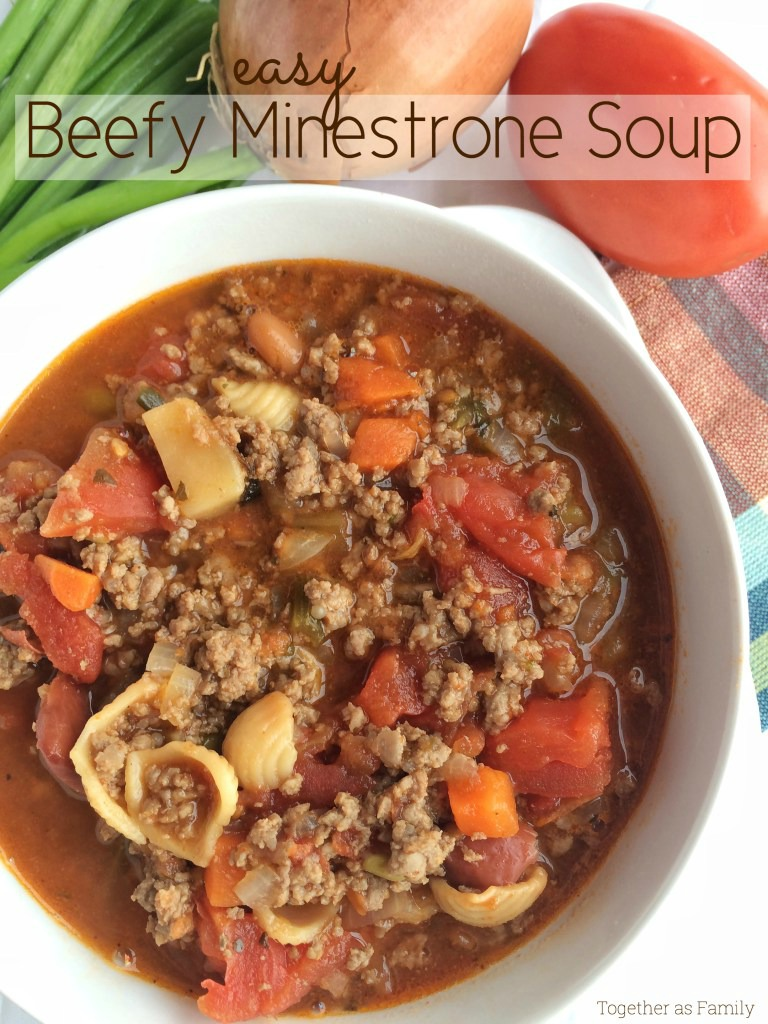 This beefy minestrone soup comes together in minutes! With only 5 ingredients including some canned pantry staples you will have a warm & hearty soup. Garnish with chopped green onions and parmesan cheese.