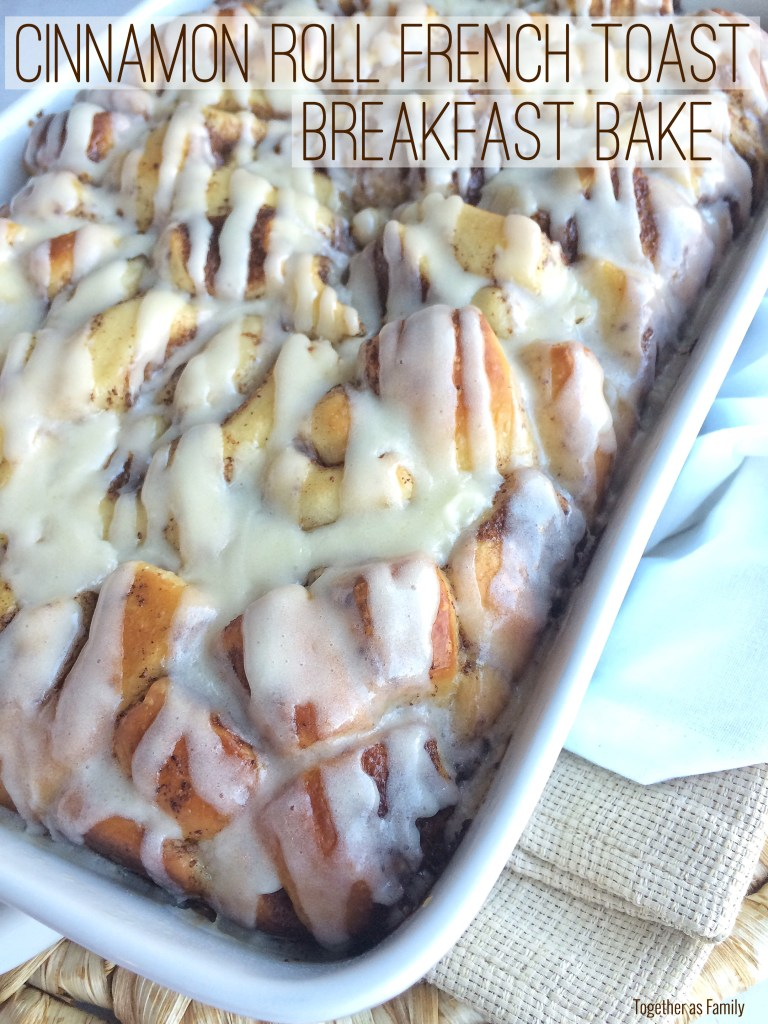 CINNAMON ROLL FRENCH TOAST BREAKFAST BAKE   easy, frozen cinnamon rolls soaked in a milk & egg mixture overnight. Bake up in the morning! www.togetherasfamily.com
