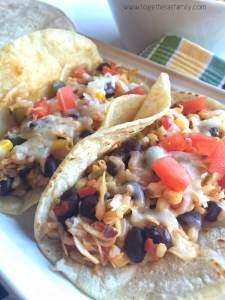 BLACK BEAN, RICE & VEGETABLE TACOS | www.togetherasfamily.com