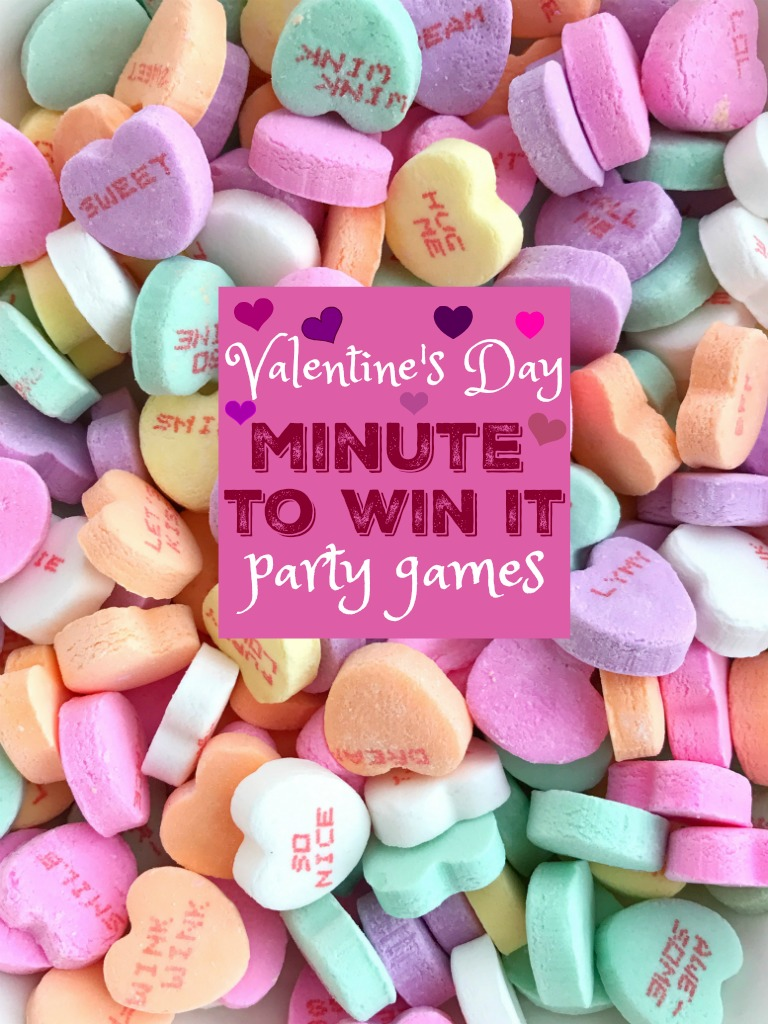 Minute to Win It Games | Valentine's Day | These Valentine's Day Minute to Win It games are perfect for a party, with friends & family, and even for a fun family night. These games all use those cute & super sweet conversation hearts + a few other normal household supplies. #valentinesday #valentinesdaygames #partygames #holiday