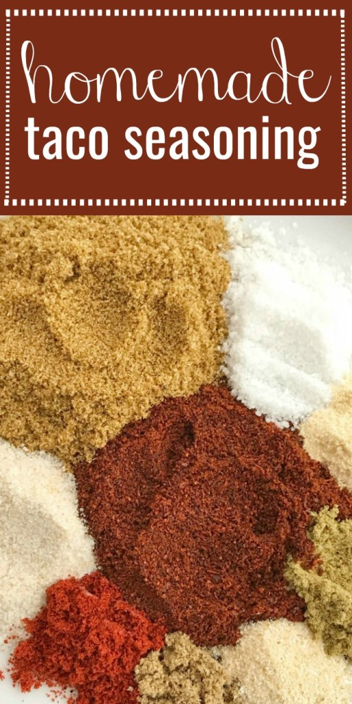 Homemade DIY Taco Seasoning | No need to buy those packets at the grocery store. This homemade taco seasoning comes together in minutes and tastes so much better than any packet. No MSG, no additives, lower sodium than the store packets. Plus, its a few simple all natural spices and seasonings that make this homemade taco seasoning full of flavor.