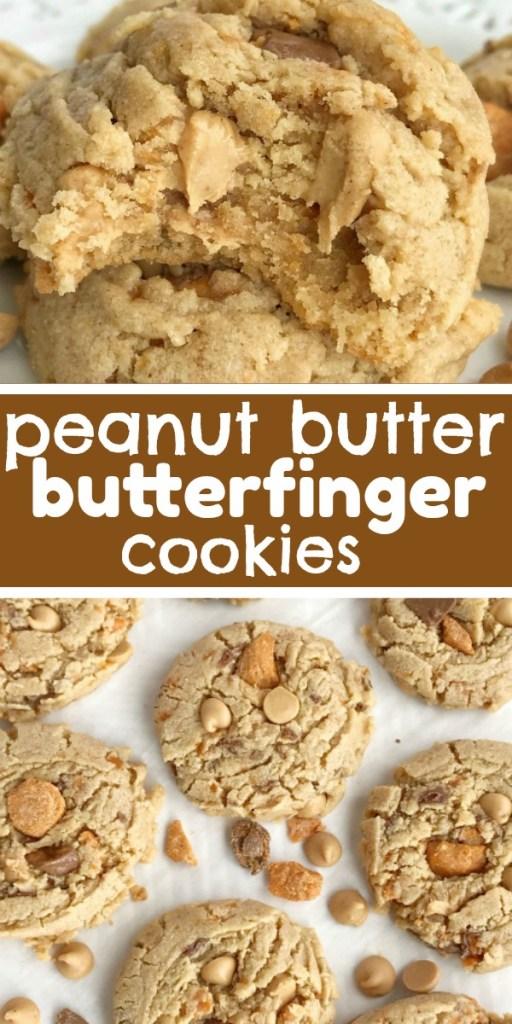 Butterfinger Peanut Butter Cookies | Peanut Butter Cookies | Butterfingers | Dessert | Cookies | #cookies #peanutbutterdessert #peanutbutterrecipes #peanutbutter #dessertrecipe