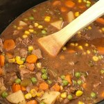 Slow Cooker Beef Stew   Beef Stew Recipe   Slow cooker beef stew is loaded with tender beef chunks, vegetables, and potatoes that cook in a flavorful tomato beef broth. This beef stew recipe is the ultimate comfort food that will warm you right up. #beefstewrecipe #crockpot #slowcooker #beef #stew